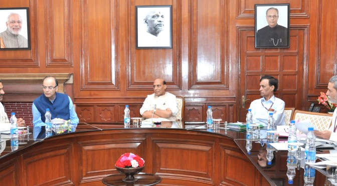 The Union Home Minister, Shri Rajnath Singh chairing a meeting of the High Level Committee for Central Assistance to States affected by the Natural Disasters, in New Delhi on July 24, 2015. 	The Union Minister for Finance, Corporate Affairs and Information & Broadcasting, Shri Arun Jaitley, the Minister of State for Agriculture, Dr. Sanjeev Kumar Balyan, the Union Home Secretary, Shri L.C. Goyal and the Agriculture Secretary, Shri Siraj Hussain are also seen.