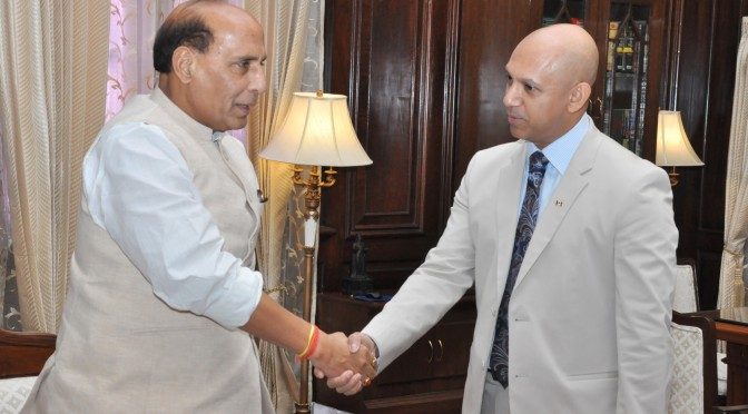The Canadian High Commissioner to India, Mr. Nadir Patel calling on the Union Home Minister, Shri Rajnath Singh, in New Delhi on July 24, 2015.