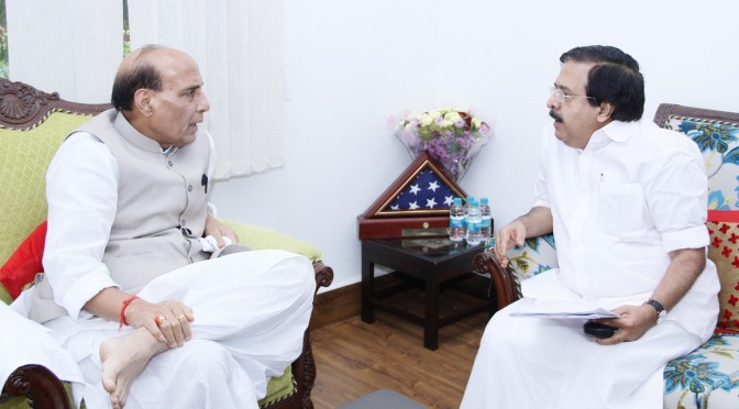 The Kerala Minister for Home and Vigilance, Shri Ramesh Chennithala calling on the Union Home Minister, Shri Rajnath Singh, in New Delhi on August 01, 2015.