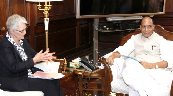The Special Representative of Secretary General, UN for Disaster Risk Reduction, Ms. Margareta Wahlstrom calling on the Union Home Minister, Shri Rajnath Singh, in New Delhi on August 24, 2015.
