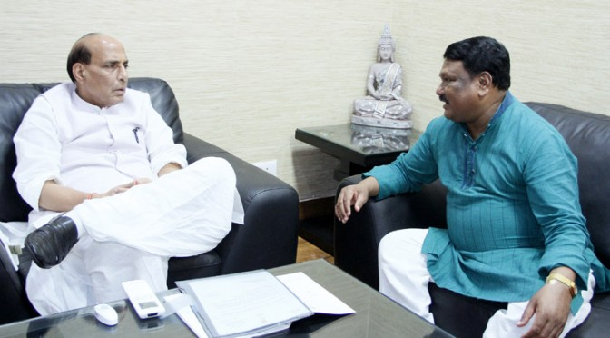 The Union Minister for Tribal Affairs, Shri Jual Oram calling on the Union Home Minister Shri Rajnath Singh, in New Delhi on August 26, 2015.