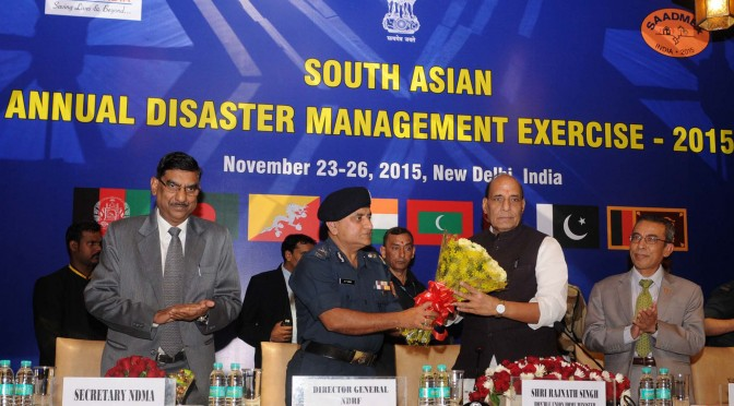 The Union Home Minister, Shri Rajnath Singh at the concluding session of the first South Asia Annual Disaster Management Exercise (SAADMEx)-2015, in New Delhi on November 26, 2015. The Secretary General, SAARC, Shri Arjun Bahadur Thapa, the Member Secretary, NDMA, Shri R.K. Jain and the Director General, National Disaster Response Force (NDRF), Shri O.P. Singh are also seen.