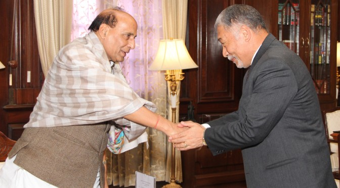 The Bhutan Ambassador to India, Major General Vetsop Namgyel calling on the Union Home Minister, Shri Rajnath Singh, in New Delhi on February 01, 2016.