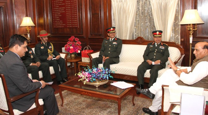 The Nepalese Army Chief, General Rajendra Chhetri calling on the Union Home Minister, Shri Rajnath Singh, in New Delhi on February 02, 2016.