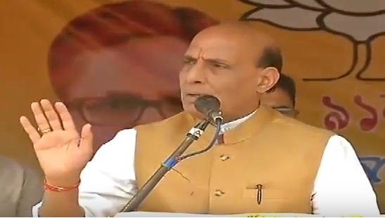 HM Shri Rajnath Singh addressing public meeting in Hojai (Assam) on 09-04-2016.