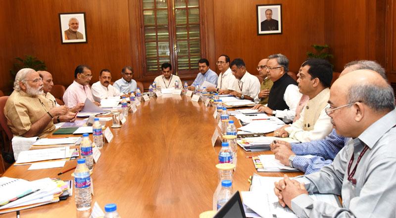 the prime minister shri narendra modi chairing a high level meeting