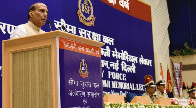 The Union Home Minister, Shri Rajnath Singh addressing at the 14th BSF Investiture Ceremony- 2016, in New Delhi on May 20, 2016.