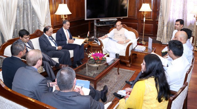 A delegation led by the US Ambassador to India, Mr. Richard R. Verma calling on the Union Home Minister, Shri Rajnath Singh, in New Delhi on May 20, 2016.