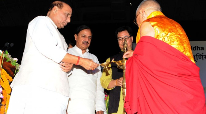 "The Union Home Minister, Shri Rajnath Singh lighting the lamp at the ""International Buddha Poornima Diwas Celebration 2016"", in New Delhi on May 21, 2016. 	The Minister of State for Home Affairs, Shri Kiren Rijiju, the Minister of State for Culture (Independent Charge), Tourism (Independent Charge) and Civil Aviation, Dr. Mahesh Sharma and the Secretary General, International Buddhist Confederation, Ven. Lama Lobzang are also seen."
