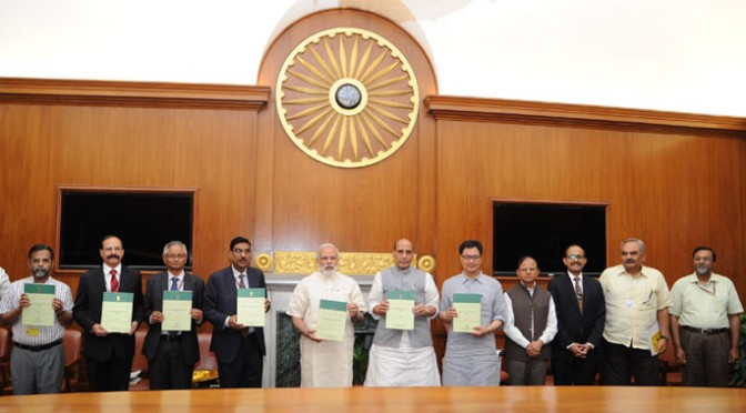 The Prime Minister, Shri Narendra Modi releasing the National Disaster Management Plan (NDMP), - 1st ever national plan prepared in the country, in New Delhi on June 01, 2016. 	The Union Home Minister, Shri Rajnath Singh, the Minister of State for Home Affairs, Shri Kiren Rijiju and the senior officers of the Prime Minister's Office, Ministry of Home Affairs and National Disaster Management Authority are also seen.