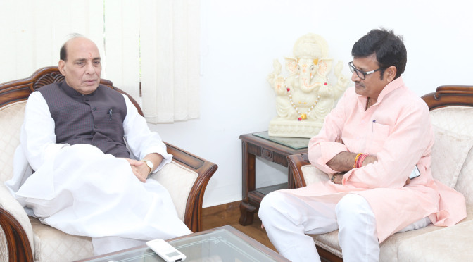 The Minister of Medical and Health, Medical and Health Services (ESI), Medical Education, Ayurveda & Indian Medical Methods, Law & Legal Affairs and Legal Consultancy Office, Parliamentary Affairs, Election, Waqf, Government of Rajasthan, Shri Rajendra Singh Rathore calling on the Union Home Minister, Shri Rajnath Singh, in New Delhi on July 12, 2016.