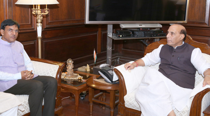The Minister of State for Road Transport & Highways, Shipping and Chemicals & Fertilizers, Shri Mansukh L. Mandaviya calling on the Union Home Minister, Shri Rajnath Singh, in New Delhi on July 12, 2016.