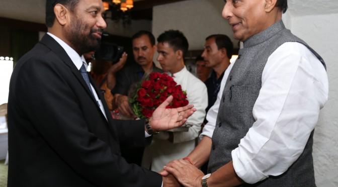 Deputy Prime Minister of Nepal Shri Bimalendra Nidhi meeting the Union Home Minister Shri Rajnath Singh in New Delhi