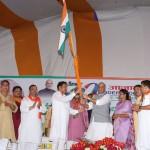 The Union Home Minister, Shri Rajnath Singh flagging off the Tiranga Yatra during a function, at Shahjahanpur, Uttar Pradesh on August 20, 2016.
