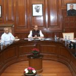 The Union Home Minister, Shri Rajnath Singh reviewing the working of the Border Security Force, in New Delhi on September 27, 2016. The Union Home Secretary, Shri Rajiv Mehrishi, the Director General, BSF, Shri K.K. Sharma and other senior officers of the Ministry of Home Affairs, the Ministry of Defence and BSF are also seen.