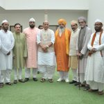 A delegation of heads of eminent Khanqahs and Dargahs led by the Chief of Ajmer Sharif, calling on the Union Home Minister, Shri Rajnath Singh, in New Delhi on September 26, 2016.