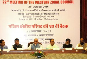 The Union Home Minister, Shri Rajnath Singh chairing the 22nd meeting of the Western Zonal Council, in Mumbai on October 21, 2016.  The Chief Minister of Maharashtra, Shri Devendra Fadnavis, the Minister of State for Home Affairs, Shri Hansraj Gangaram Ahir and other dignitaries are also seen.
