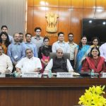 A group of IAS Probationers of Uttar Pradesh cadre (2014 Batch) as well as Probationers who are domicile of Uttar Pradesh, presently posted in various Ministries/Departments as Assistant Secretaries, participated in an interactive session with the Union Ministers led by the Union Home Minister, Shri Rajnath Singh, in New Delhi on October 19, 2016.