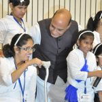 The Union Home Minister, Shri Rajnath Singh sharing a lighter moment with the differently-abled children, at the celebration to commemorate the Canonization of Saint Mother Teresa, in New Delhi on October 19, 2016.