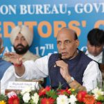 The Union Home Minister, Shri Rajnath Singh addressing the Regional Editors' Conference, in Chandigarh on October 17, 2016. The Governor of Punjab and Administrator of Chandigarh, Shri V.P. Singh Badnore is also seen.