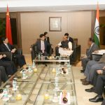 A Chinese delegation led by the Special Envoy of the Chinese President and Member of the Political Bureau of the Central Committee of the Communist Party of China, Mr. Meng Jianzhu meeting the Indian delegation led by the Union Home Minister, Shri Rajnath Singh in New Delhi on November 08, 2016.