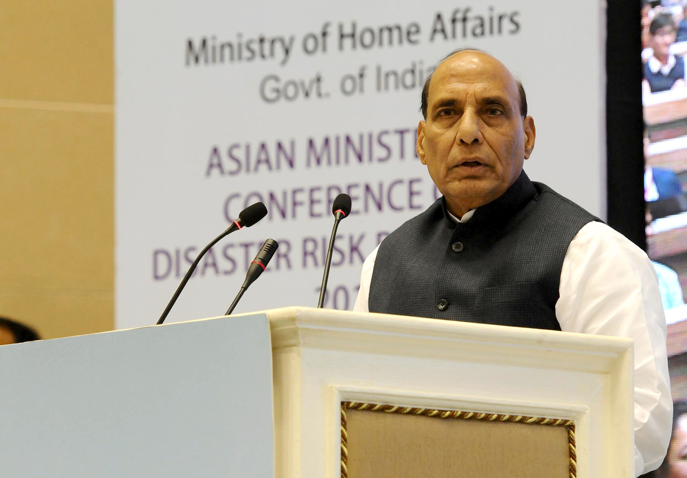 The Union Home Minister, Shri Rajnath Singh addressing at the closing ceremony of the Asian Ministerial Conference for Disaster Risk Reduction (AMCDRR) 2016, in New Delhi on November 05, 2016.