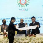 The Union Home Minister, Shri Rajnath Singh at the closing ceremony of the Asian Ministerial Conference for Disaster Risk Reduction (AMCDRR) 2016, in New Delhi on November 05, 2016.  The Ministers of State for Home Affairs, Shri Hansraj Gangaram Ahir & Shri Kiren Rijiju and other dignitaries are also seen.