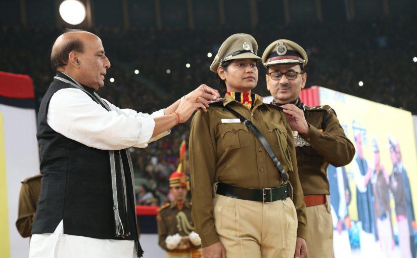 Home Minister Shri Rajnath Singh addresses investiture function of Delhi Police in New Delhi.