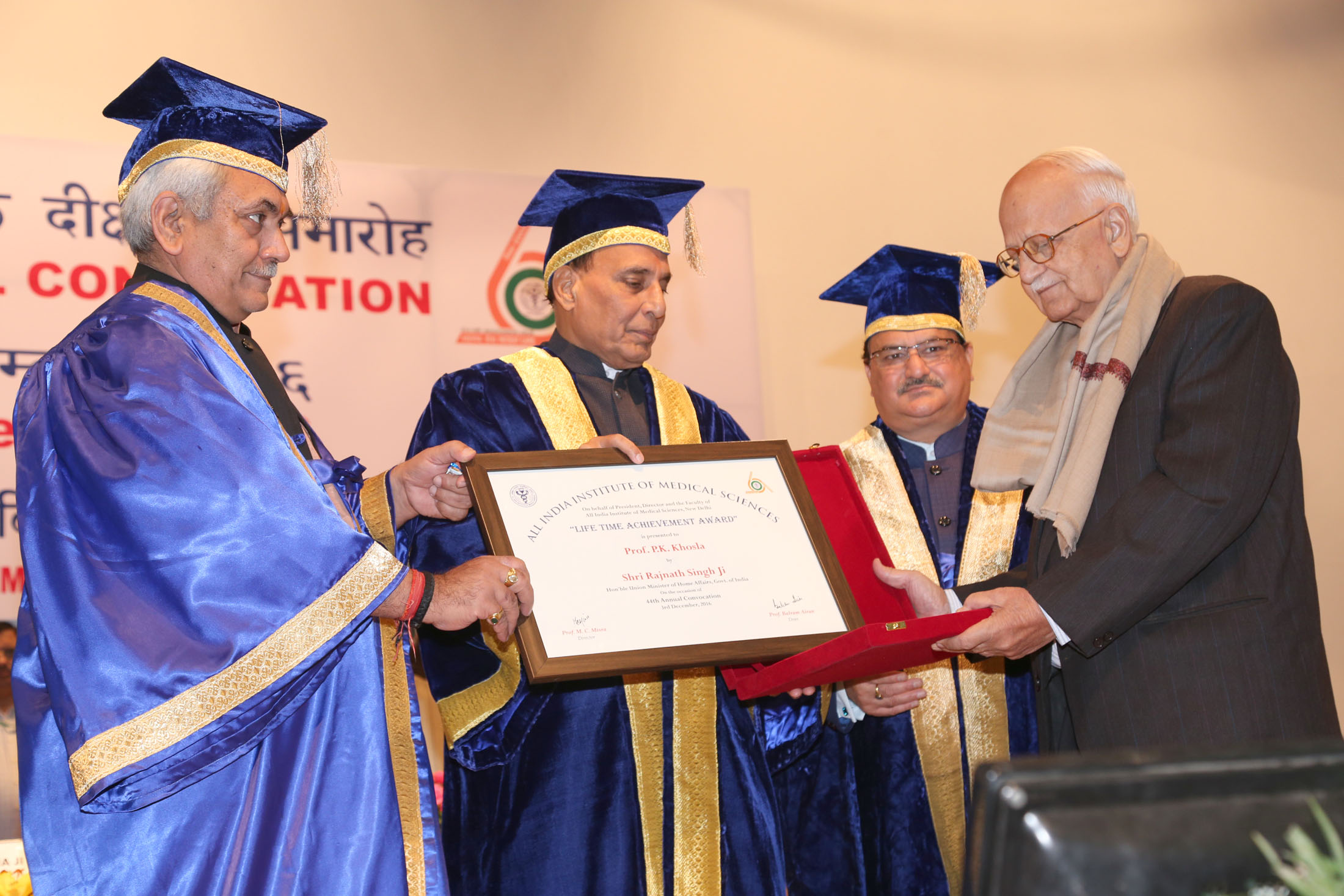 The Union Home Minister, Shri Rajnath Singh presenting the Lifetime Achievement Award to Prof. P.K. Khosla during the 44th Annual Convocation of the AIIMS, in New Delhi on December 03, 2016.