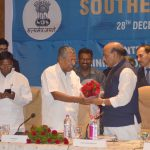 The Chief Minister of Kerala, Shri Pinarayi Vijayan welcoming the Union Home Minister, Shri Rajnath Singh at the 27th Southern Zonal Council meeting, in Thiruvananthapuram on December 28, 2016. The Chief Minister of Puducherry, Shri V. Narayanasamy is also seen.