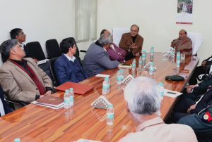 The Union Home Minister, Shri Rajnath Singh chairing the meeting to review the situation in Manipur, in New Delhi on January 15, 2017.  The Union Minister for Finance and Corporate Affairs, Shri Arun Jaitley, the Union Minister for Defence, Shri Manohar Parrikar and other dignitaries are also seen.