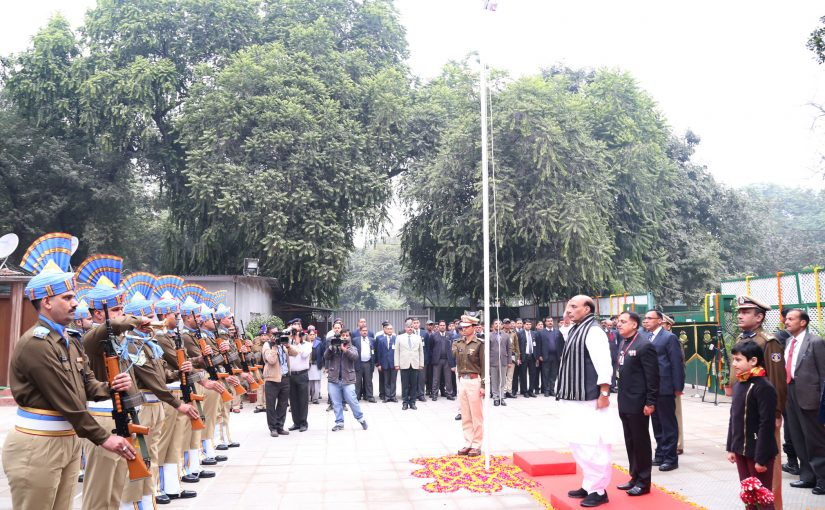 Home Minister Shri Rajnath Singh unfurls the National Flag on the occasion of the 68th Republic Day in New Delhi on January 26, 2017