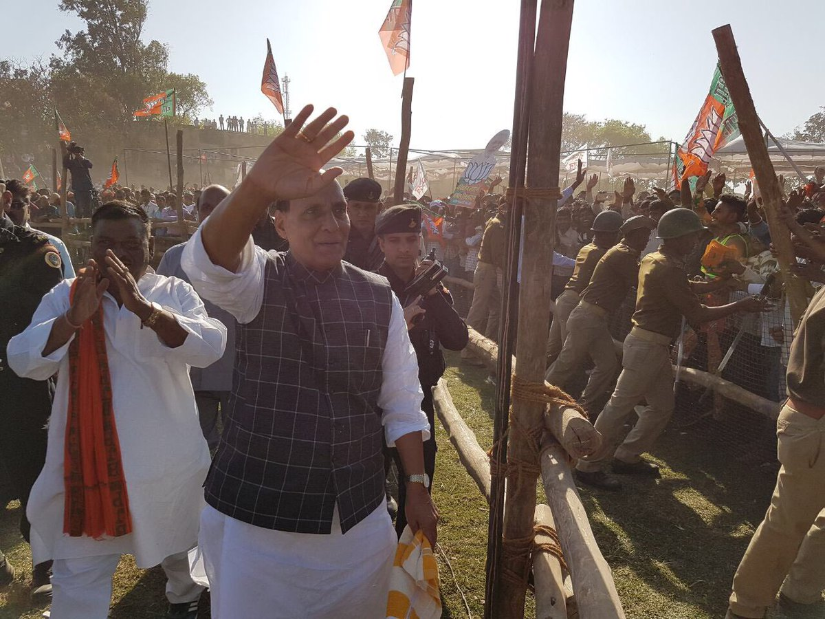 Rajnath Singh waving to people in Chakia, Uttar Pradesh