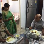 Shri Rajnath Singh at lunch with BSF AC Sandip Mishra who lost eyes