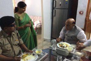 Shri Rajnath Singh at lunch with BSF AC Sandip Mishra who lost eyes