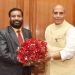 The Deputy Prime Minister and Home Minister of Nepal, Shri Bimalendra Nidhi calling on the Union Home Minister, Shri Rajnath Singh, in New Delhi on March 16, 2017.