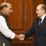 The Director of the Federal Security Service, Russia, Mr. Alexander Bortnikov calling on the Union Home Minister, Shri Rajnath Singh, in New Delhi on March 24, 2017.