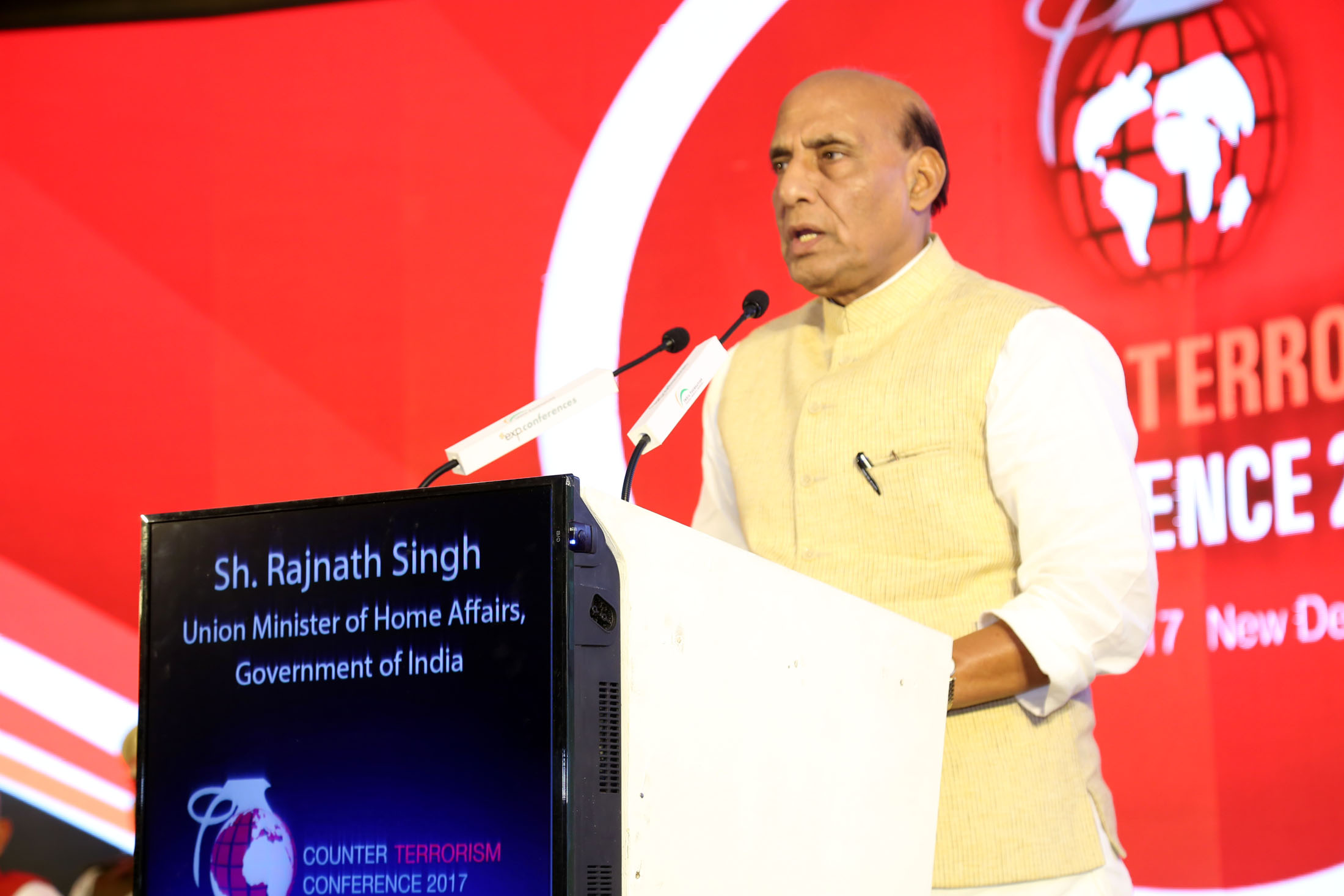 The Union Home Minister, Shri Rajnath Singh addressing at the Counter Terrorism Conference, in New Delhi on March 16, 2017.