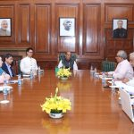 The Union Home Minister, Shri Rajnath Singh chairing a meeting to review the situation in North East, in New Delhi on March 24, 2017. 	The Minister of State for Home Affairs, Shri Kiren Rijiju and senior officers of MHA are also seen.