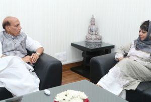 The Chief Minister of Jammu and Kashmir, Ms. Mehbooba Mufti calling on the Union Home Minister, Shri Rajnath Singh, in New Delhi on April 24, 2017.
