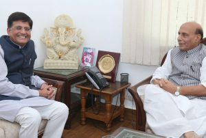 The Minister of State for Power, Coal, New and Renewable Energy and Mines (Independent Charge), Shri Piyush Goyal calling on the Union Home Minister, Shri Rajnath Singh, in New Delhi on April 24, 2017.