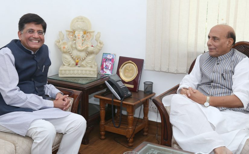 The Minister of State for Power, Coal, New and Renewable Energy and Mines (Independent Charge), Shri Piyush Goyal calling on the Union Home Minister, Shri Rajnath Singh