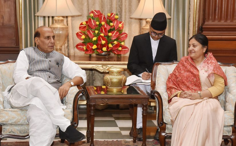 The Union Home Minister, Shri Rajnath Singh meeting the President of Nepal, Ms. Bidya Devi Bhandari