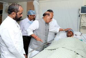 The Union Home Minister, Shri Rajnath Singh enquiring about the health of injured CRPF personnel at the Ramkrishna Care Hospital, in Raipur, Chhattisgarh on April 25, 2017. The Minister of State for Home Affairs, Shri Hansraj Gangaram Ahir is also seen.