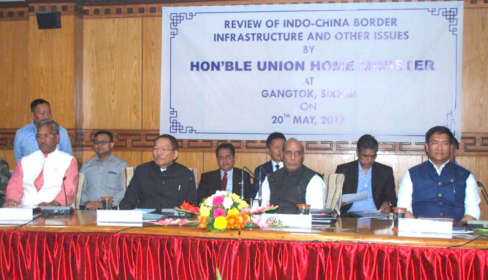 The Union Home Minister, Shri Rajnath Singh chairing a review meeting of the Chief Ministers of five States on Indo-China Border Infrastructure and other issues, in Gangtok, Sikkim on May 20, 2017.