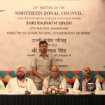 The Union Home Minister, Shri Rajnath Singh chairing the 28th meeting of the Northern Zonal Council, at Chandigarh on May 12, 2017. The Governor of Punjab and Administrator of U.T. Chandigarh, Shri. V.P. Singh Badnore and the Chief Minister of Haryana, Shri Manohar Lal Khattar, the Lt. Governor of Delhi, Shri Anil Baijal and the Deputy Chief Minister of Jammu and Kashmir, Dr. Nirmal Kumar Singh are also seen.