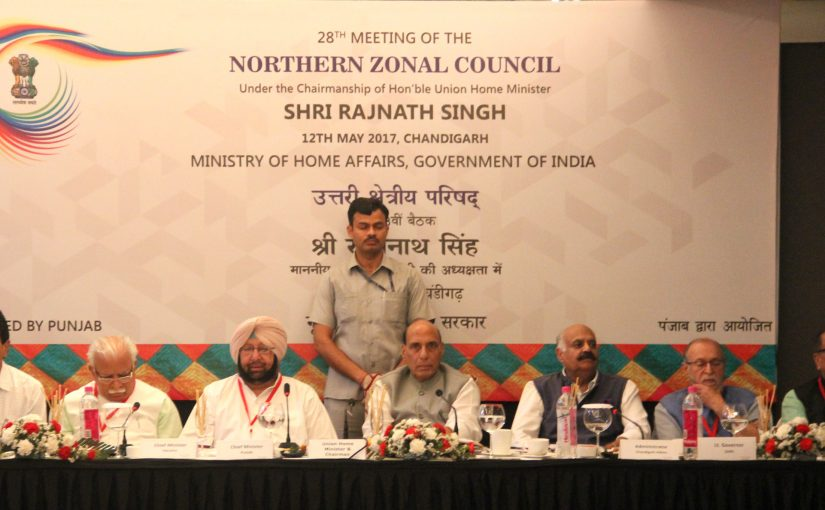 Union Home Minister Shri Rajnath Singh chairs the Northern Zonal Council meeting at Chandigarh