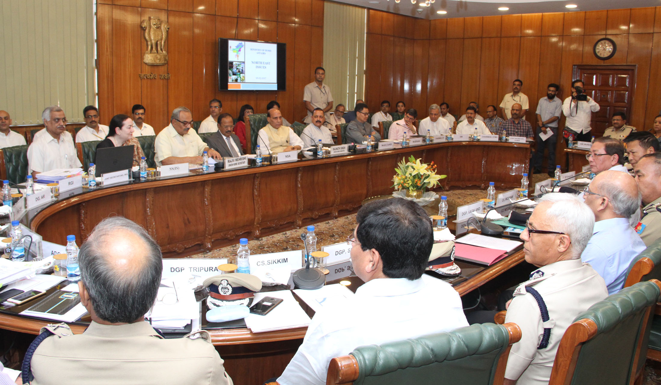 The Union Home Minister, Shri Rajnath Singh chairing the meeting on issues related to North East, in New Delhi on May 16, 2017.  The Minister of State for Development of North Eastern Region (I/C), Prime Minister's Office, Personnel, Public Grievances & Pensions, Atomic Energy and Space, Dr. Jitendra Singh, the Minister of State for Home Affairs, Shri Kiren Rijiju and senior officers from the Central Government and North eastern states are also seen.