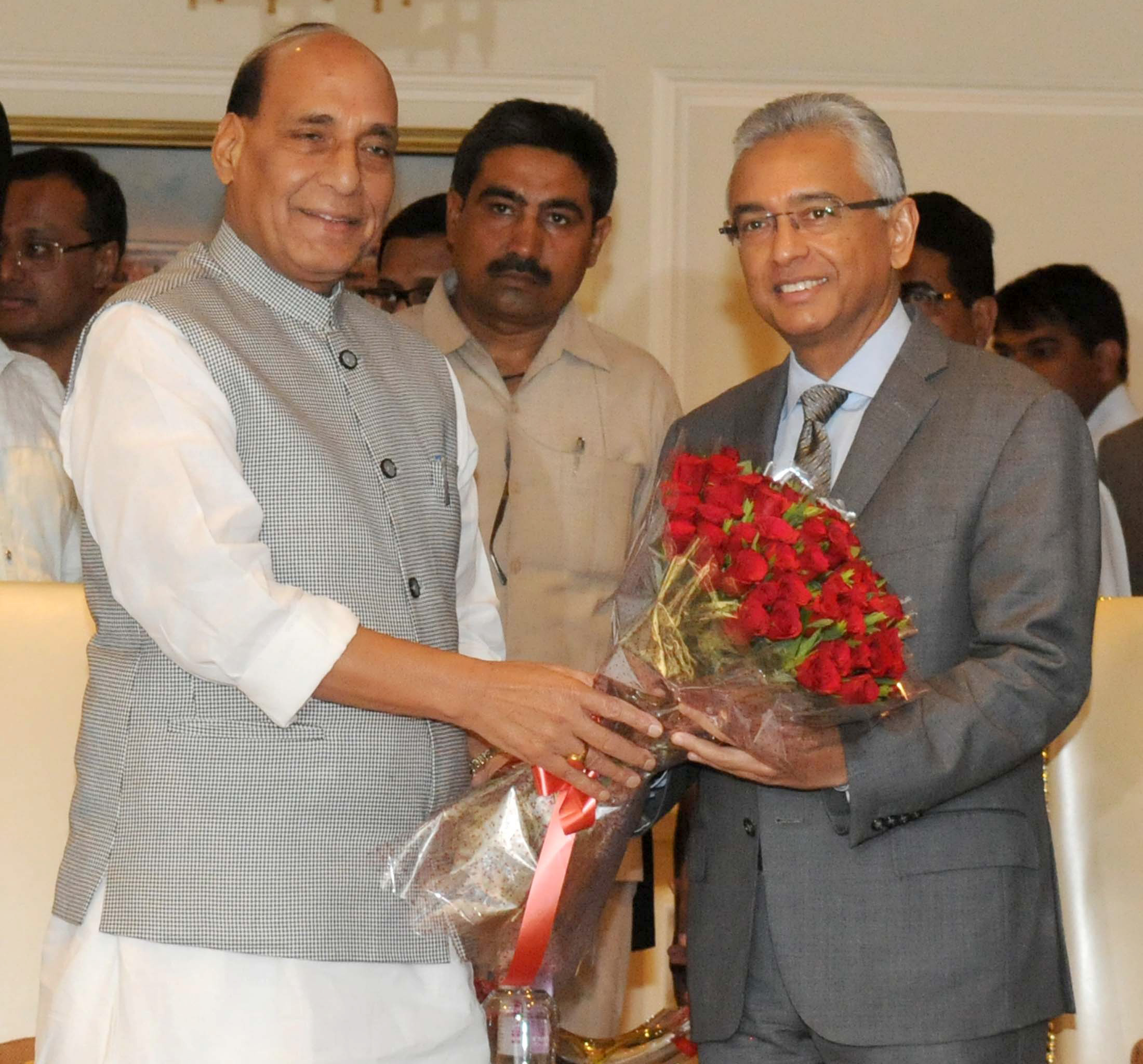 The Union Home Minister, Shri Rajnath Singh meeting the Prime Minister of the Republic of Mauritius, Mr. Pravind Kumar Jugnauth, in New Delhi on May 26, 2017.