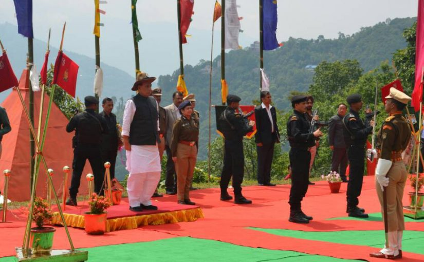 Shri Rajnath Singh lays Foundation Stone of SSB 36th battalion Gayzing HQs in Western District of Sikkim and makes aerial survey of three remote SSB posts
